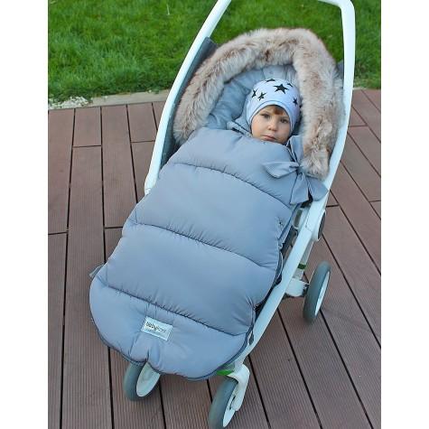Śpiworek zimowy do wózka szary